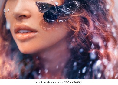 close up of beautiful young woman with butterfly. conceptual