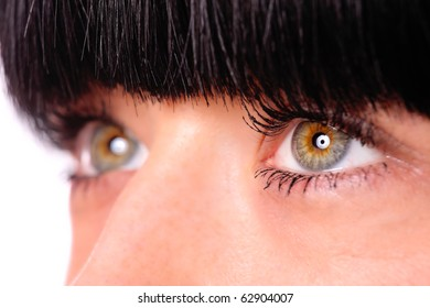 close up of a beautiful young woman eyes