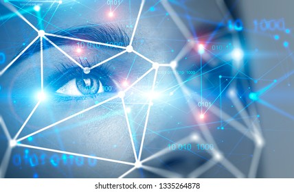 Close up of beautiful young woman face with face recognition mesh and immersive binary interface. Concept of hi tech. Toned image double exposure