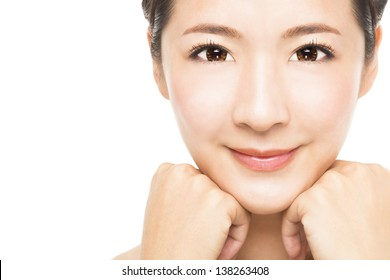 close up beautiful young Woman face