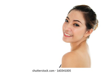 Close up of beautiful young woman face friendly and confident looking with white background