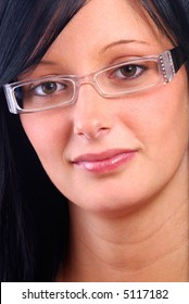 Close Up Of A Beautiful Young Woman Modeling Fashion Glasses Frames