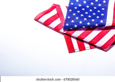 Close up Beautifully star and striped United States of America flag  on plain background with space for text