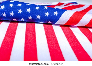 Close up Beautifully star and striped United States of America flag