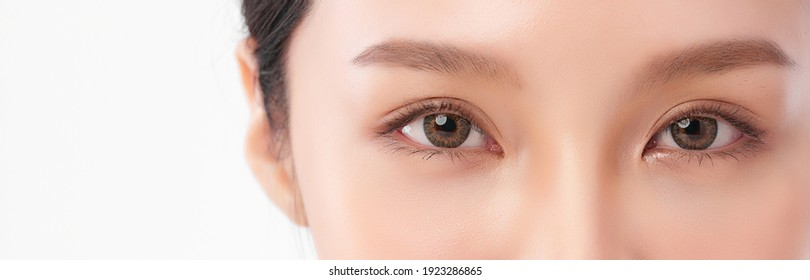 close up of beauty asia woman eye on white background.  - Shutterstock ID 1923286865
