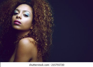 Close up beauty portrait of a sexy african american woman