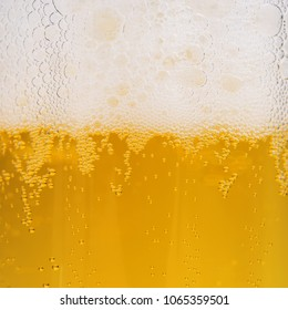 Close up of beer bubbles with froth, beer background