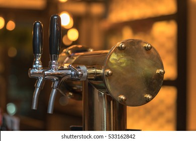 Close up beer dispenser valve