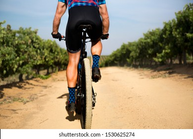Close up from behind of muscular legs of mountain bike rider/cyclist riding on  bike. Dirt/gravel road and vineyard in the background. Funky socks. Selective focus on bicycle wheel with dirt/sand.