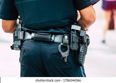 Close up of a belt of law enforcement equipment in Boston USA.