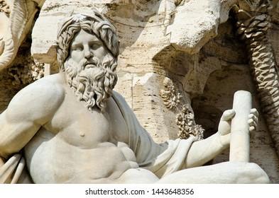 Close of Bernini's Fontana dei Quattro Fiumi in Piazza Navona, Rome, Italy