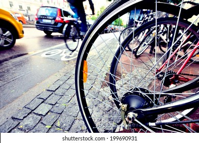 Close up of bicycle, bike and bike lane in background