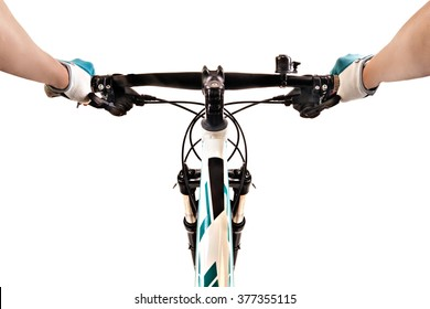 Close up bicycle rider's hands on a mountain bicycle handlebar isolated on white background. Studio shot.
