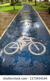 Close up bicycle sign on wet public park road