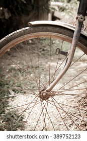 Close up of bicycle wheels process in vintage