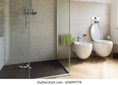 close up of Bidet and wc in the bathroom