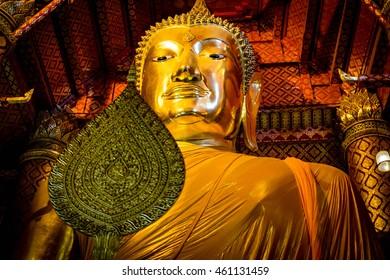 Close Up Big Buddha statue in temple, thailand