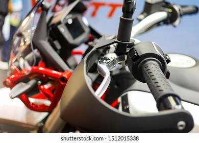 Close up big motorbike handle bar and handguard