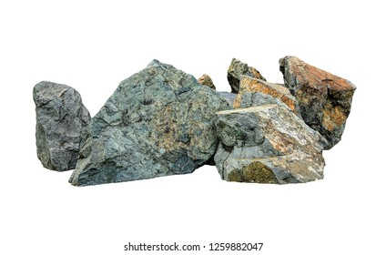 Close up of big stone and rock isolated on white background. Clipping path included.