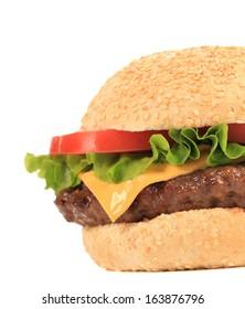 Close up of big tasty hamburger. Whole background.