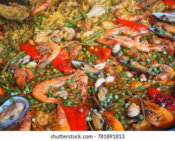 Close up big yummy spanish dish, seafood paella.