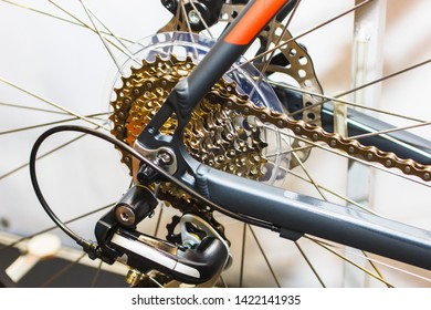 Close up bike chainrings and rear sprocket silhouettes