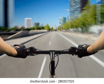 close up of a bike at high speed on the city