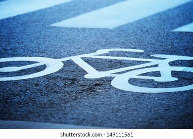 Close up of bike lane symbol