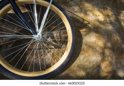 Close up of the bike wheel lying