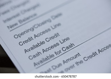 Close up of a bill with available credit in focus