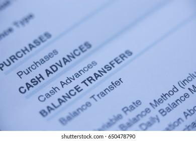 Close up of a bill with balance transfers and cash advances in focus