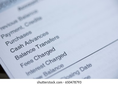 Close up of a bill with balance transfers in focus