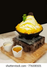 Close up bingsu mango ice cream Korean dessert style on black bowl with smoke background,served with to milk and syrup
