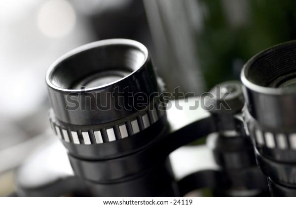 Close up of binoculars.