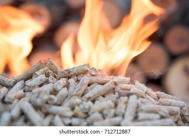 Close up of biomass in flames- fire in fire place