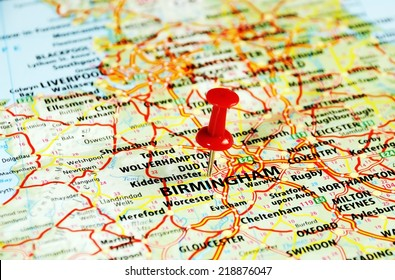 Close up of  Birmingham ,United Kingdom  map with red pin - Travel concept