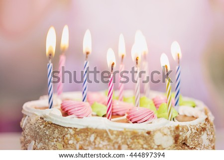Close Up Birthday Cake With Candles For Little Princess Girl Soft Focus