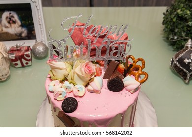 Close up of a birthday cake indicating delicious