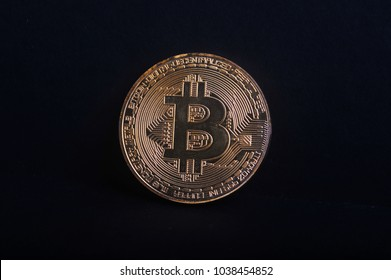 Close up of bitcoin with dark background. Bitcoin is one of cryptocurrency.