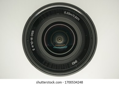 The close up of black camera lens kit capture by macro lens