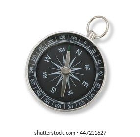 close up black compass isolated