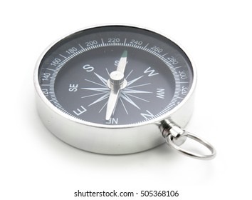 close up black compass isolated on white