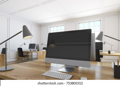 Close up of a black computer screen standing on a wooden table in a white office. Concept of a corporate work. 3d rendering mock up