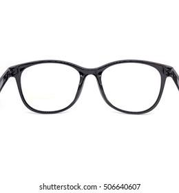 Close up black eye glasses isolated on white background,Nerd glasses isolated on white