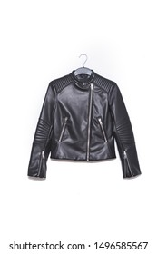 Close up black leather jacket on hanging
