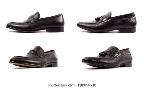 Close up of a black men penny loafers shoes on white background. Fashion advertising shoes photos.
