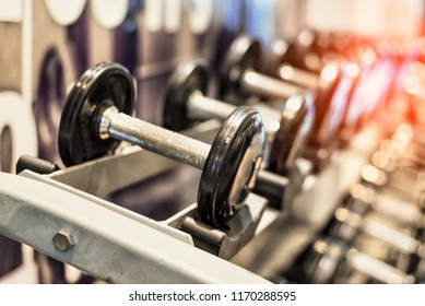 Close up of black metallic steel dumbbell set. Dumbbells on rack in sport fitness center. Workout training and fitness gym concept. Healthy and well being concept. Sport equipment and tool theme.
