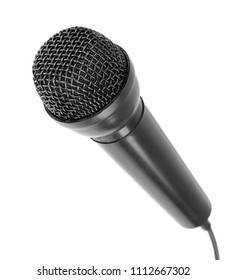 A close up of a black microphone on a white background
