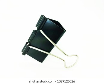 Close up of black paper clip, Bulldog clip for office stationery, Isolated on white background