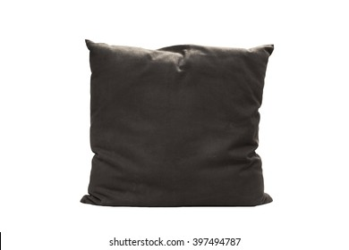 close up of a black pillow on white background